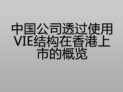中国公司透过使用VIE 结构在香港上市的概览